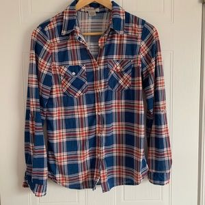 Fashion Nova Tops - Blue and Coral Button Up Plaid